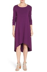 Eileen Fisher Women's Jersey Asymmetrical Hem Ballet Neck Shift Dress Deep Raisin