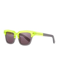 Dart Square Sunglasses Neon Yellow Multi Opening Ceremony