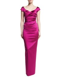 Talbot Runhof Kortney Satin Cap Sleeve Gown Pink