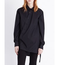 Izzue Asymmetric Detail Cotton Shirt Black