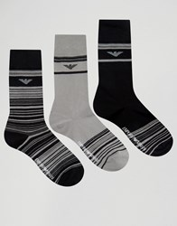 Emporio Armani 3 Pack Socks In Gift Box Black