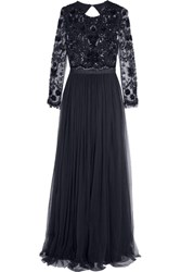 Needle And Thread Embellished Tulle Gown Midnight Blue