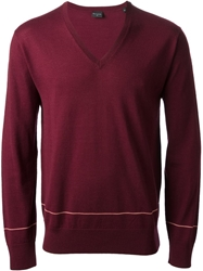 Paul Smith Stripe Detail V Neck Sweater Red