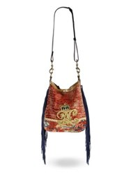 Ralph Lauren Fringed Embroidered Velvet Hobo Bag Red Multi