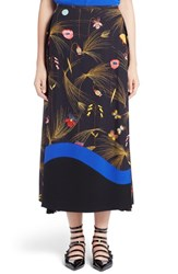 Fendi Women's Pleated Botanical Cady Midi Skirt