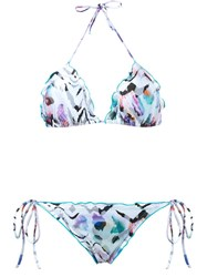 Brigitte Zebra Print Triangle Bikini Set Pink And Purple