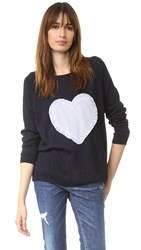 Chinti And Parker Big Heart Sweater Navy