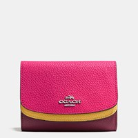 Coach Medium Double Flap Wallet In Colorblock Leather Silver Burgundy Multi