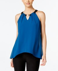 Thalia Sodi Sleeveless Handkerchief Hem Top Only At Macy's Nocturnal Blue