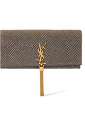Saint Laurent Monogramme Kate Textured Lame Clutch Gold