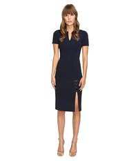 Yigal Azrouel Short Sleeve Dress W Eyelet Lacing Detail Midnight