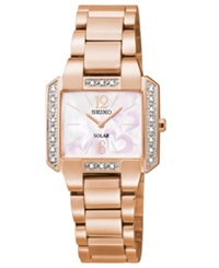 Seiko Women's Tressia Solar Diamond Accent Rose Gold Tone Stainless Steel Bracelet Watch 27Mm Sup212 American Heart Association Edition