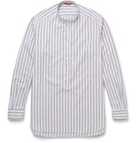 Barena Bruno Grandad Collar Striped Cotton Shirt Blue