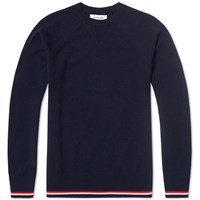 Thom Browne Tricolour Tipped Cashmere Crew Knit Navy