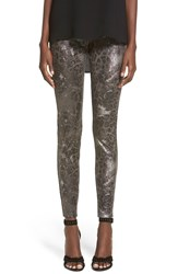 Hue Metallic Faux Suede Leggings Black
