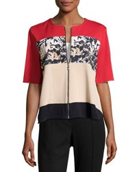 Ming Wang Zip Front Short Sleeve Knit Jacket Mul