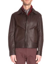Berluti Short Leather Jacket Dark Brown