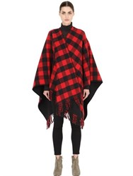 La Mericaine Lumberjack Checked Wool Blend Cape