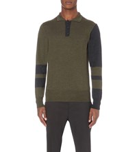 Vivienne Westwood Contrast Panel Wool Polo Shirt Green Grey