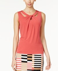 Nine West Sleeveless Cutout Twist Front Top Coral