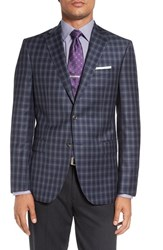 David Donahue Men's Big And Tall 'Connor' Classic Fit Plaid Wool Sport Coat Medium Blue