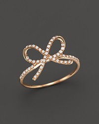 Bloomingdale's Diamond Bow Ring In 14K Rose Gold .20 Ct. T.W. Pink