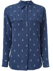 Equipment Anchor Print Button Down Shirt Blue