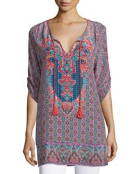Tolani Anna Long Printed Silk Tunic Denim