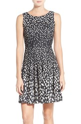 Eliza J Petite Women's Print Ombre Sleeveless Fit And Flare Dress New Black