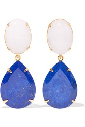 Bounkit Gold Tone Agate And Lapis Lazuli Earrings Blue