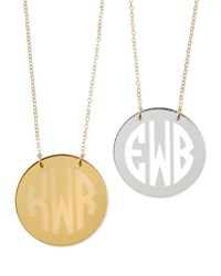 Mirrored Acrylic Reverse Monogram Pendant Necklace Moon And Lola Gold