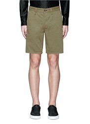 Rag And Bone Brushed Cotton Twill Shorts Green