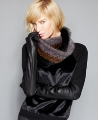 The Fur Vault Knitted Mink Fur Striped Infinity Scarf Black Brown Grey