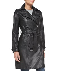 Neiman Marcus Double Breasted Leather Trench Coat Black