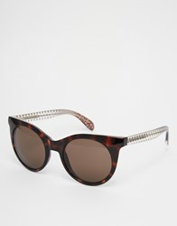 Marc By Marc Jacobs Round Sunglasses With Polka Dot Arm Brown