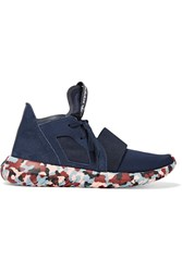 Adidas Originals Rita Ora Tubular Defiant Neoprene And Suede Sneakers Navy