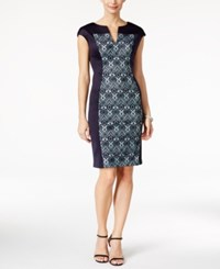 Connected Petite Printed Colorblocked Scuba Sheath Dress Navy Turquoise