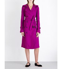 Victoria Beckham Double Breasted Twill Trench Coat Plum