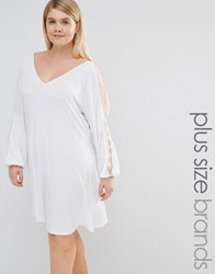 Pink Clove Split Sleeve Swing Dress With Lace Trim White