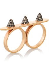 Ileana Makri Triple Spike 18 Karat Rose Gold Diamond Ring Metallic