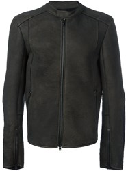 Isabel Benenato Zipped Leather Jacket Brown