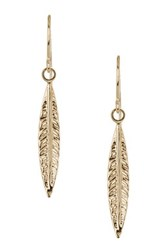 14K Yellow Gold Feather Drop Earrings