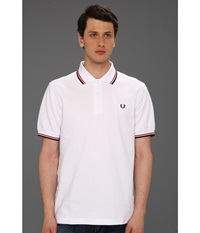 Twin Tipped Fred Perry Polo White Bright Red Navy Men's Short Sleeve Pullover