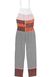 Lemlem Eve Color Block Cotton Blend Jumpsuit Pink