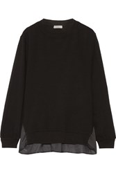 Clu Satin Paneled Cotton Jersey Sweatshirt Black