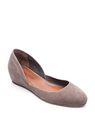 Bernardo Nakita Suede Hidden Wedge Flat Pumps Smoke Grey