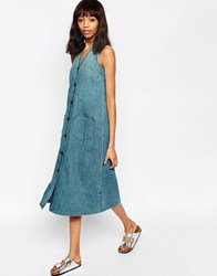 Asos Denim Sleeveless V Neck Midi Dress With Button Front In Midwash Blue Blue