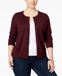 Charter Club Plus Size Long Sleeve Cardigan Only At Macy's Cranberry Red