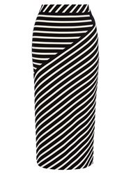 Karen Millen Stripe Jersey Skirt White Black