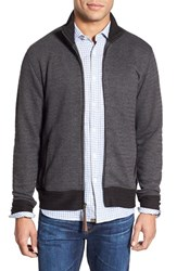 Men's Billy Reid Jacquard Knit Zip Track Jacket Charcoal
